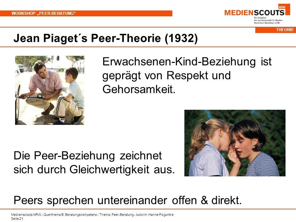 Medienscouts NRW - Querthema B: Beratungskompetenz - Thema: Peer-Beratung - Autorin: Hanne Poguntke Seite 21 WORKSHOP PEER-BERATUNG Jean Piaget´s Peer-Theorie (1932) Erwachsenen-Kind-Beziehung ist geprägt von Respekt und Gehorsamkeit.