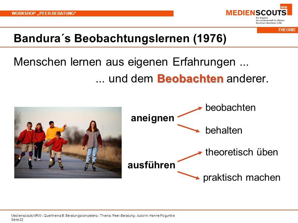 Medienscouts NRW - Querthema B: Beratungskompetenz - Thema: Peer-Beratung - Autorin: Hanne Poguntke Seite 22 WORKSHOP PEER-BERATUNG Bandura´s Beobachtungslernen (1976) Menschen lernen aus eigenen Erfahrungen...