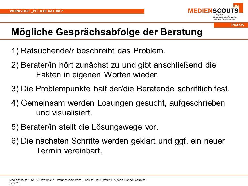 Medienscouts NRW - Querthema B: Beratungskompetenz - Thema: Peer-Beratung - Autorin: Hanne Poguntke Seite 28 WORKSHOP PEER-BERATUNG Mögliche Gesprächsabfolge der Beratung 1) Ratsuchende/r beschreibt das Problem.