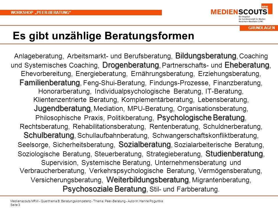 Medienscouts NRW - Querthema B: Beratungskompetenz - Thema: Peer-Beratung - Autorin: Hanne Poguntke Seite 3 WORKSHOP PEER-BERATUNG Es gibt unzählige B