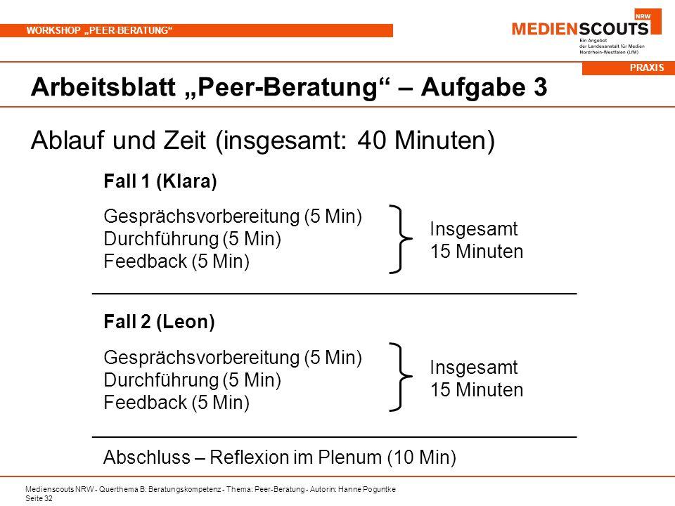Medienscouts NRW - Querthema B: Beratungskompetenz - Thema: Peer-Beratung - Autorin: Hanne Poguntke Seite 32 WORKSHOP PEER-BERATUNG Arbeitsblatt Peer-Beratung – Aufgabe 3 Ablauf und Zeit (insgesamt: 40 Minuten) Fall 1 (Klara) Gesprächsvorbereitung (5 Min) Durchführung (5 Min) Feedback (5 Min) Insgesamt 15 Minuten Fall 2 (Leon) Gesprächsvorbereitung (5 Min) Durchführung (5 Min) Feedback (5 Min) _________________________________________________ Abschluss – Reflexion im Plenum (10 Min) Insgesamt 15 Minuten _________________________________________________ PRAXIS