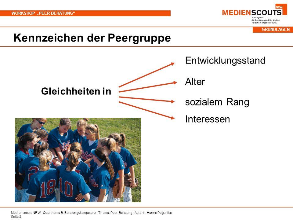 Medienscouts NRW - Querthema B: Beratungskompetenz - Thema: Peer-Beratung - Autorin: Hanne Poguntke Seite 8 WORKSHOP PEER-BERATUNG Kennzeichen der Pee