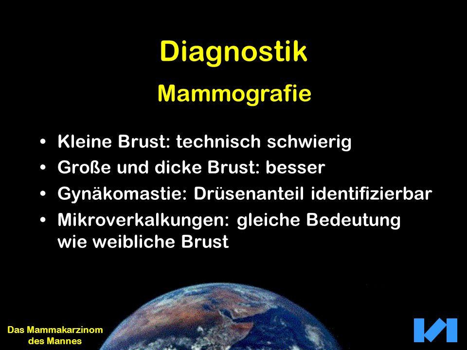 Diagnostik Kleine Brust: technisch schwierig Große und dicke Brust: besser Gynäkomastie: Drüsenanteil identifizierbar Mikroverkalkungen: gleiche Bedeu