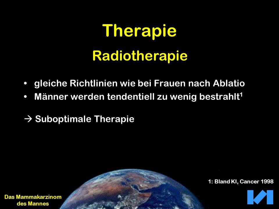 Therapie gleiche Richtlinien wie bei Frauen nach Ablatio Männer werden tendentiell zu wenig bestrahlt 1 Suboptimale Therapie Das Mammakarzinom des Man