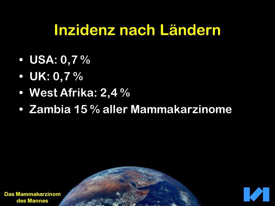 Inzidenz nach Ländern USA: 0,7 % UK: 0,7 % West Afrika: 2,4 % Zambia 15 % aller Mammakarzinome Das Mammakarzinom des Mannes
