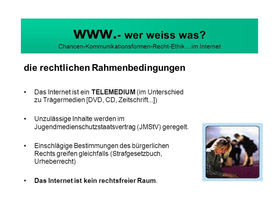 www. - wer weiss was? Chancen-Kommunikationsformen-Recht-Ethik...im Internet die rechtlichen Rahmenbedingungen Das Internet ist ein TELEMEDIUM (im Unt
