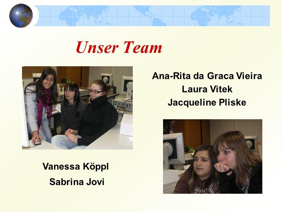 Unser Team Ana-Rita da Graca Vieira Laura Vitek Jacqueline Pliske Vanessa Köppl Sabrina Jovi