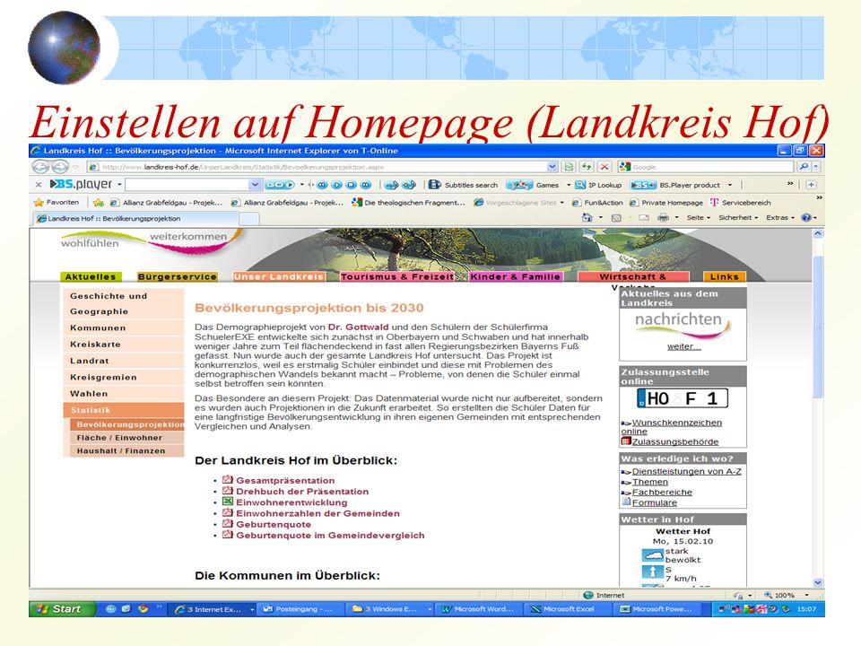Einstellen auf Homepage (Landkreis Hof)