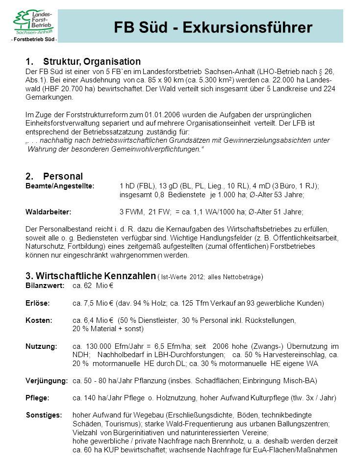 FB Süd - Exkursionsführer 1.Struktur, Organisation Der FB Süd ist einer von 5 FB`en im Landesforstbetrieb Sachsen-Anhalt (LHO-Betrieb nach § 26, Abs.1