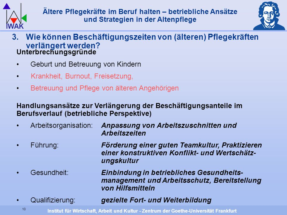 Institut für Wirtschaft, Arbeit und Kultur - Zentrum der Goethe-Universität Frankfurt IWAK Unterbrechungsgründe Geburt und Betreuung von Kindern Krank
