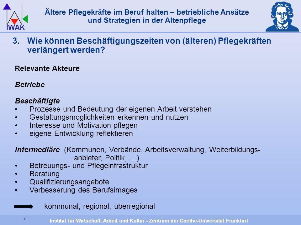 Institut für Wirtschaft, Arbeit und Kultur - Zentrum der Goethe-Universität Frankfurt IWAK 11 Ältere Pflegekräfte im Beruf halten – betriebliche Ansät