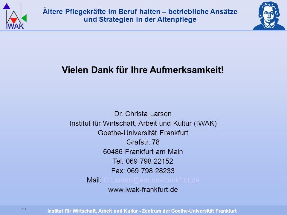 Institut für Wirtschaft, Arbeit und Kultur - Zentrum der Goethe-Universität Frankfurt IWAK Vielen Dank für Ihre Aufmerksamkeit! Dr. Christa Larsen Ins