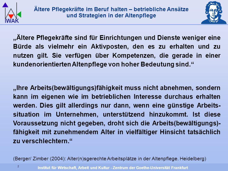 Institut für Wirtschaft, Arbeit und Kultur - Zentrum der Goethe-Universität Frankfurt IWAK 2 Ältere Pflegekräfte im Beruf halten – betriebliche Ansätz