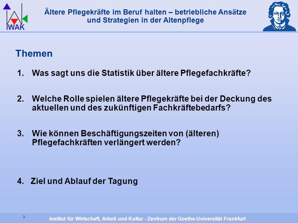 Institut für Wirtschaft, Arbeit und Kultur - Zentrum der Goethe-Universität Frankfurt IWAK Themen 1.Was sagt uns die Statistik über ältere Pflegefachk