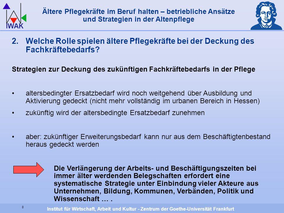 Institut für Wirtschaft, Arbeit und Kultur - Zentrum der Goethe-Universität Frankfurt IWAK 8 Ältere Pflegekräfte im Beruf halten – betriebliche Ansätz