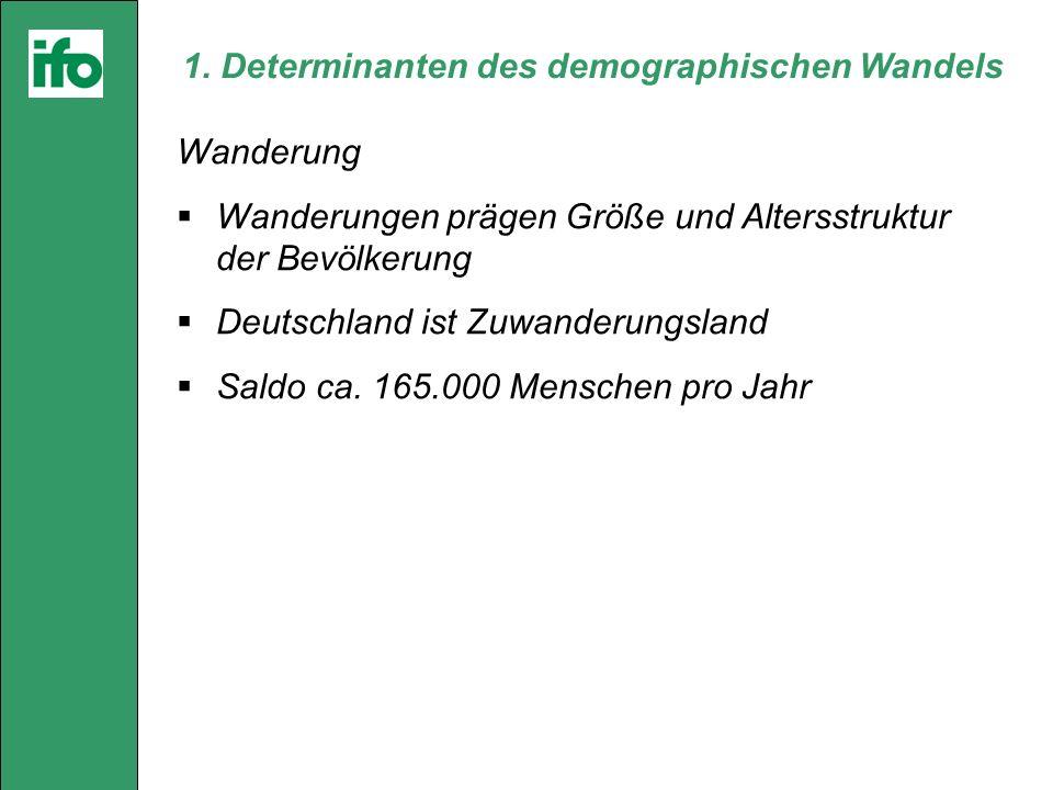 1. Determinanten des demographischen Wandels Wanderung Wanderungen prägen Größe und Altersstruktur der Bevölkerung Deutschland ist Zuwanderungsland Sa