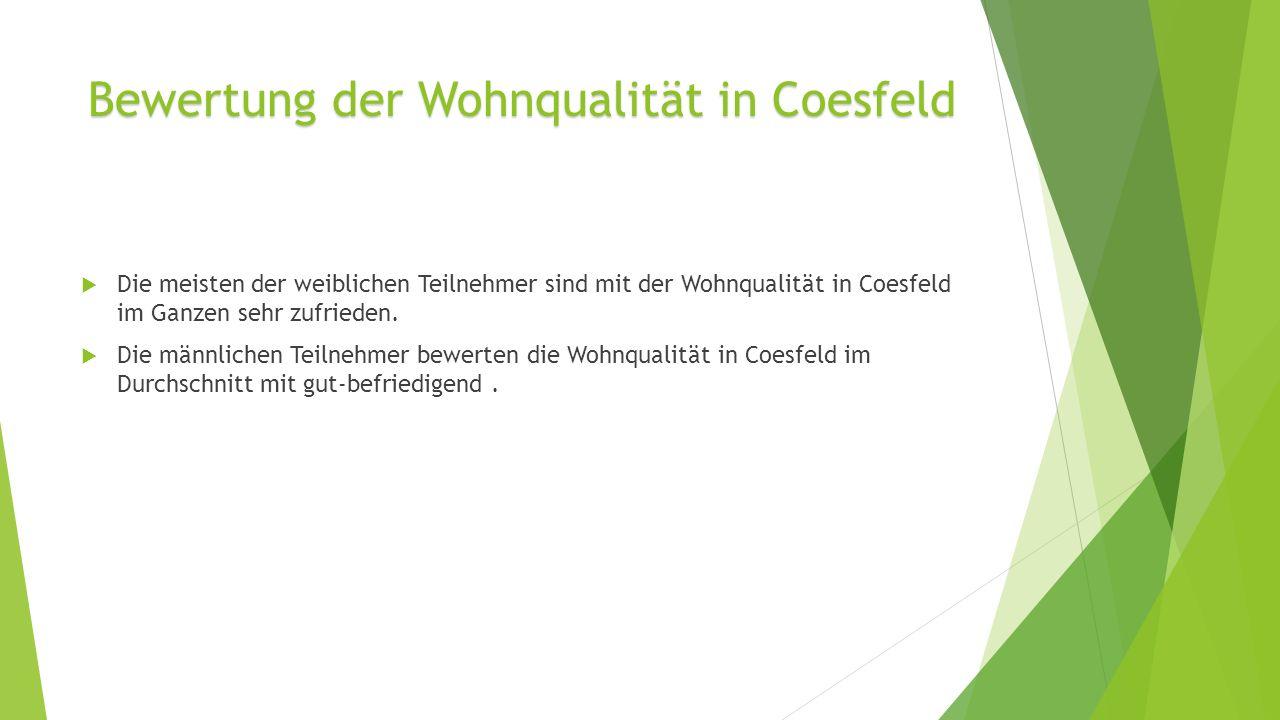 Die meisten der weiblichen Teilnehmer sind mit der Wohnqualität in Coesfeld im Ganzen sehr zufrieden.