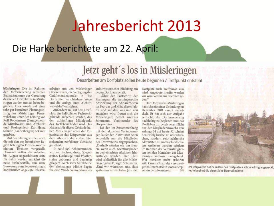 Jahresbericht 2013 13. April: Aktion Pflastersteine aufnehmen