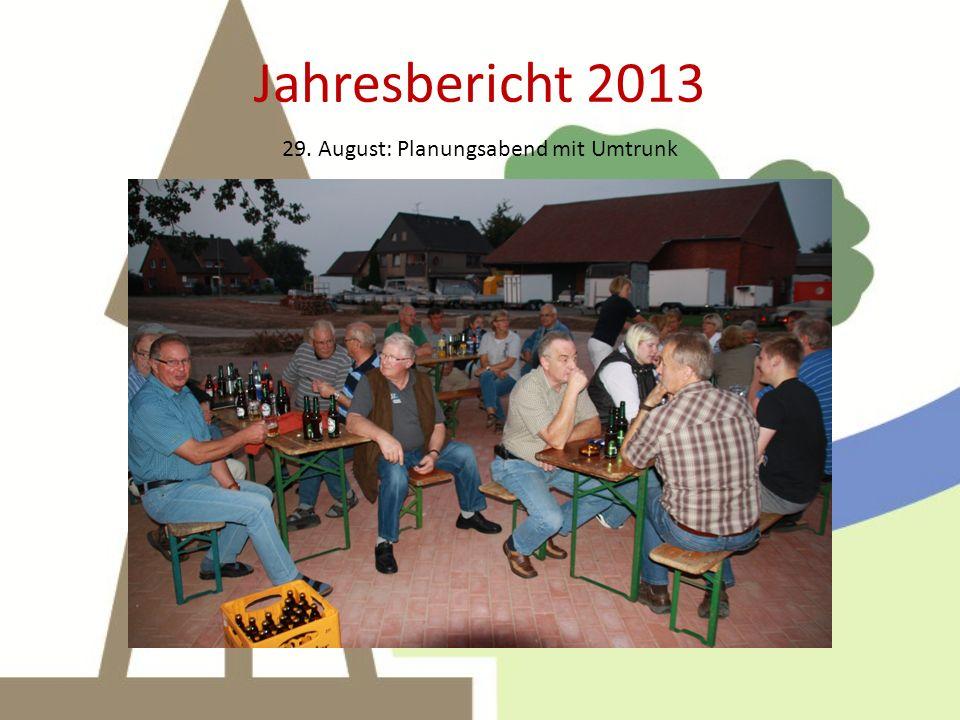 Jahresbericht 2013 29. August: Planungsabend mit Umtrunk