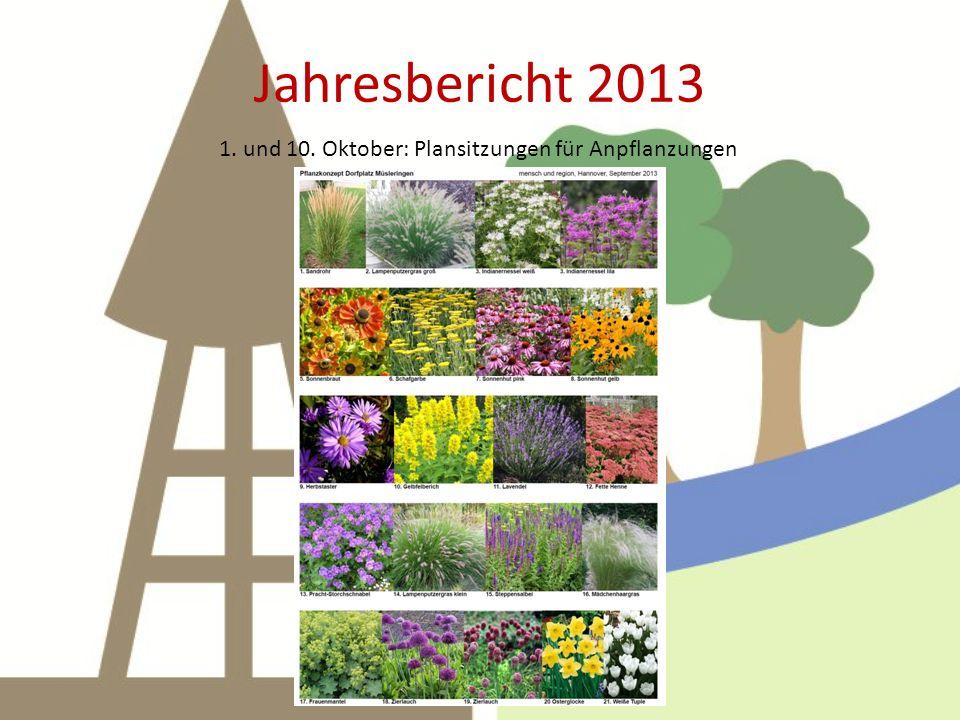 Jahresbericht 2013 1. und 10. Oktober: Plansitzungen für Anpflanzungen