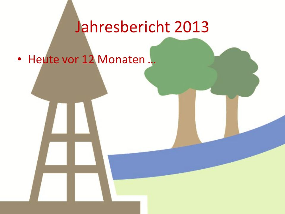 Jahresbericht 2013 Heute vor 12 Monaten … Nachts – 8 Grad, am Tage um null …