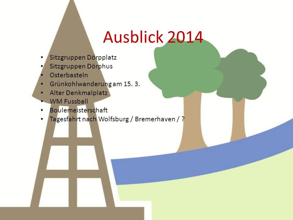 Ausblick 2014 Sitzgruppen Dörpplatz Sitzgruppen Dörphus Osterbasteln Grünkohlwanderung am 15.