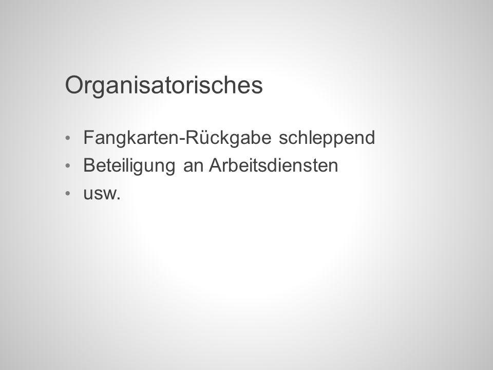 Organisatorisches Fangkarten-Rückgabe schleppend Beteiligung an Arbeitsdiensten usw.