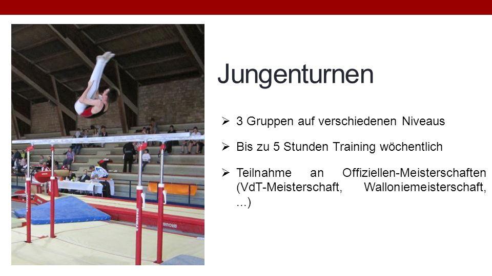 Jungenturnen 3 Gruppen auf verschiedenen Niveaus Bis zu 5 Stunden Training wöchentlich Teilnahme an Offiziellen-Meisterschaften (VdT-Meisterschaft, Wa