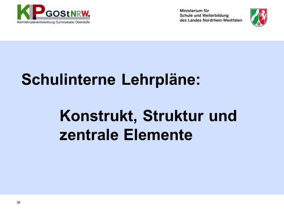 32 Konstrukt, Struktur und zentrale Elemente Schulinterne Lehrpläne: 32