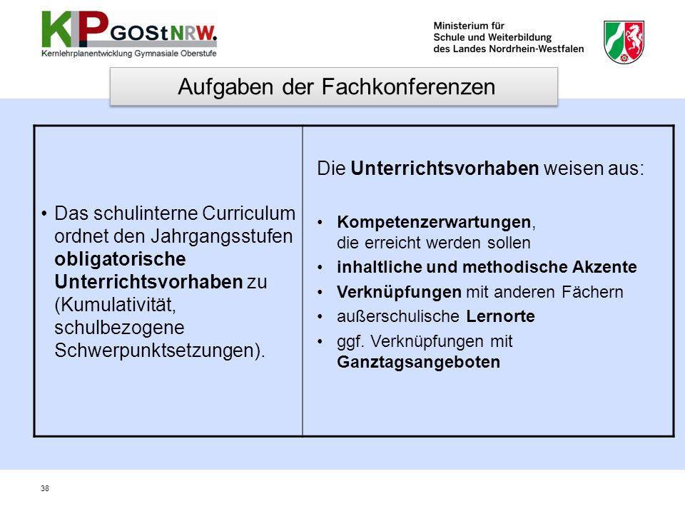 Das schulinterne Curriculum ordnet den Jahrgangsstufen obligatorische Unterrichtsvorhaben zu (Kumulativität, schulbezogene Schwerpunktsetzungen). Die