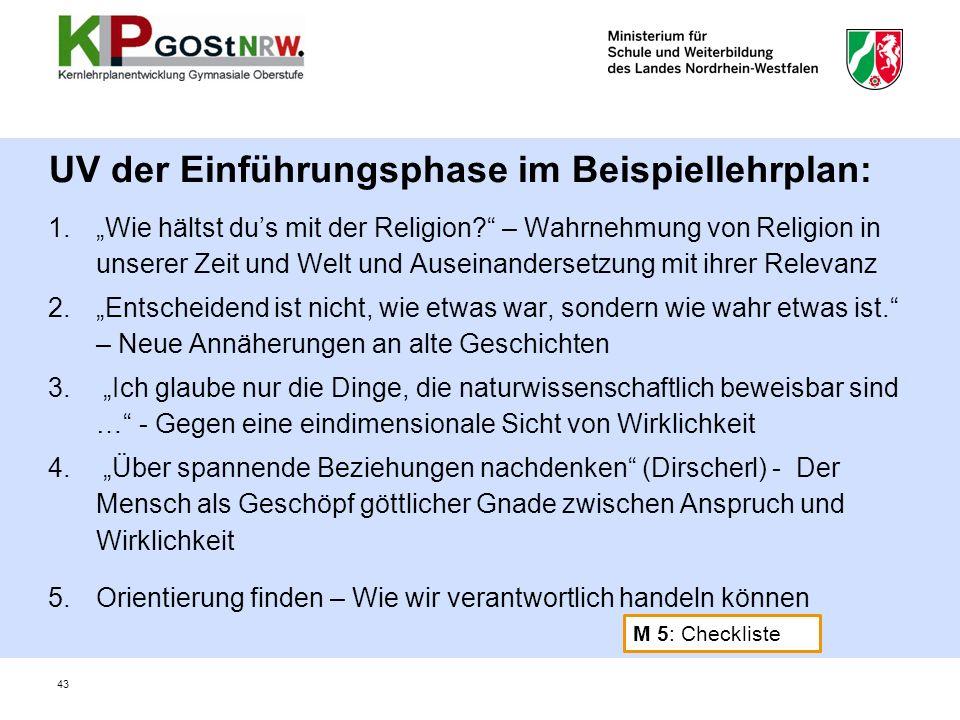 1.Wie hältst dus mit der Religion? – Wahrnehmung von Religion in unserer Zeit und Welt und Auseinandersetzung mit ihrer Relevanz 2.Entscheidend ist ni
