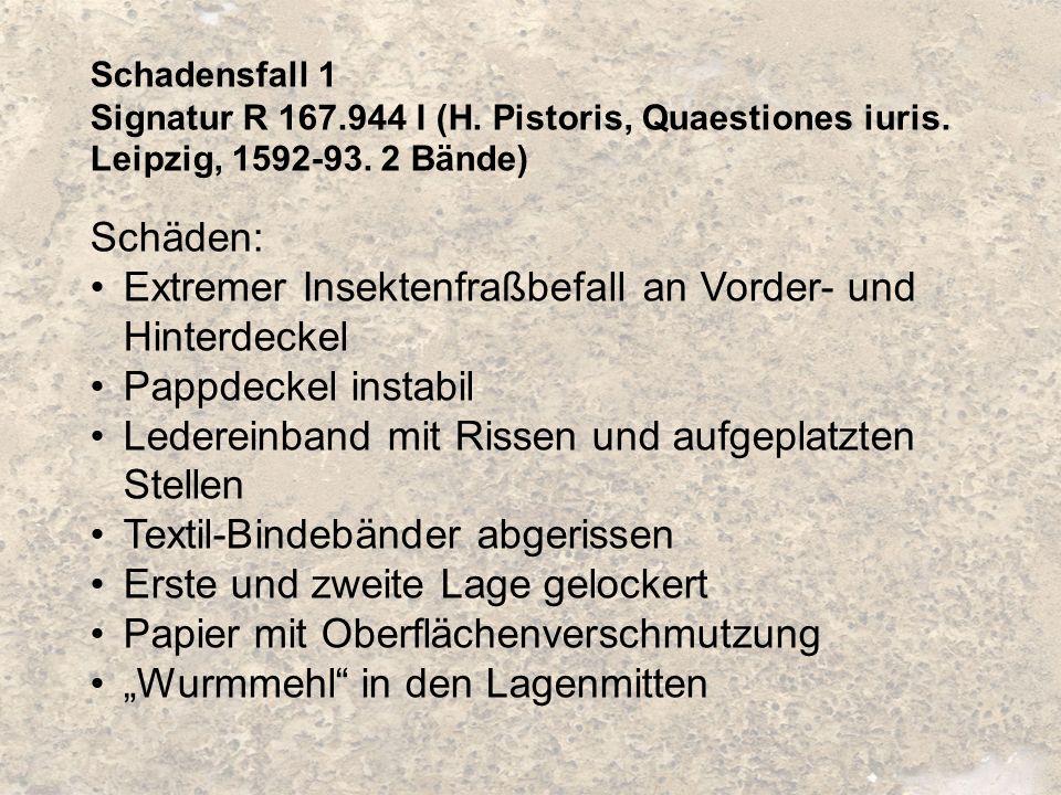 Schadensfall 1 Signatur R 167.944 I (H. Pistoris, Quaestiones iuris. Leipzig, 1592-93. 2 Bände) Schäden: Extremer Insektenfraßbefall an Vorder- und Hi