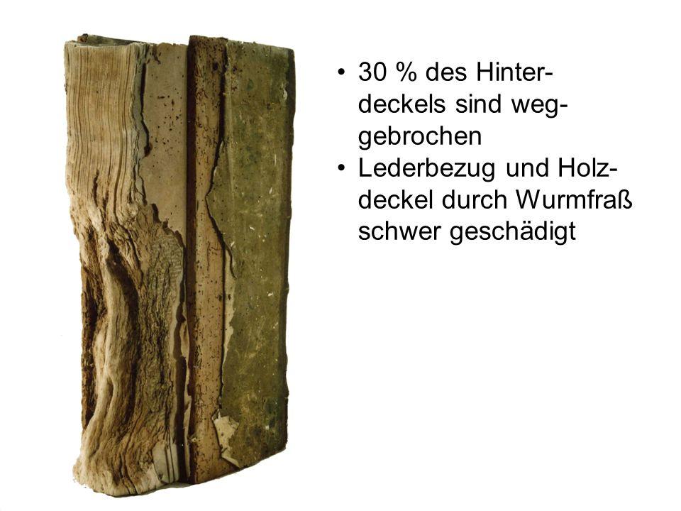 30 % des Hinter- deckels sind weg- gebrochen Lederbezug und Holz- deckel durch Wurmfraß schwer geschädigt