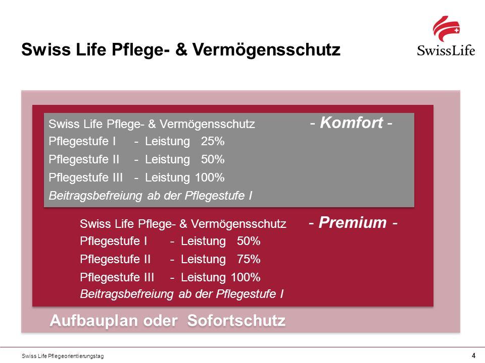 Swiss Life Pflegeorientierungstag 4 Aufbauplan oder Sofortschutz Swiss Life Pflege- & Vermögensschutz - Premium - Pflegestufe I- Leistung 50% Pflegestufe II- Leistung 75% Pflegestufe III- Leistung 100% Beitragsbefreiung ab der Pflegestufe I Swiss Life Pflege- & Vermögensschutz - Premium - Pflegestufe I- Leistung 50% Pflegestufe II- Leistung 75% Pflegestufe III- Leistung 100% Beitragsbefreiung ab der Pflegestufe I Swiss Life Pflege- & Vermögensschutz Swiss Life Pflege- & Vermögensschutz - Komfort - Pflegestufe I- Leistung 25% Pflegestufe II- Leistung 50% Pflegestufe III- Leistung 100% Beitragsbefreiung ab der Pflegestufe I Swiss Life Pflege- & Vermögensschutz - Komfort - Pflegestufe I- Leistung 25% Pflegestufe II- Leistung 50% Pflegestufe III- Leistung 100% Beitragsbefreiung ab der Pflegestufe I