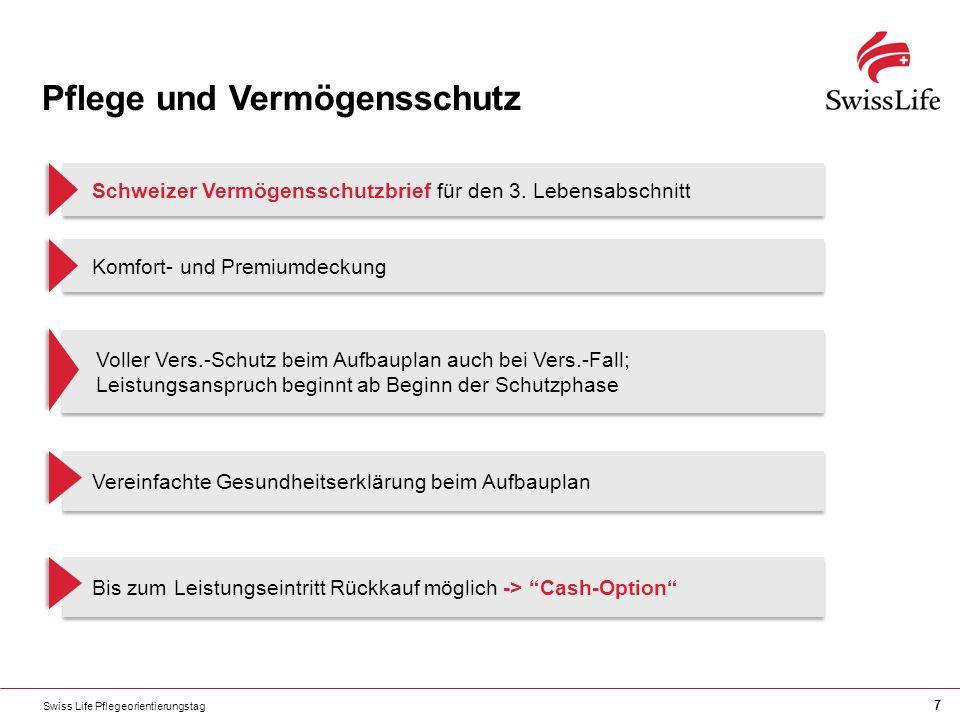 Swiss Life Pflegeorientierungstag 7 Pflege und Vermögensschutz Schweizer Vermögensschutzbrief für den 3. Lebensabschnitt Komfort- und Premiumdeckung V