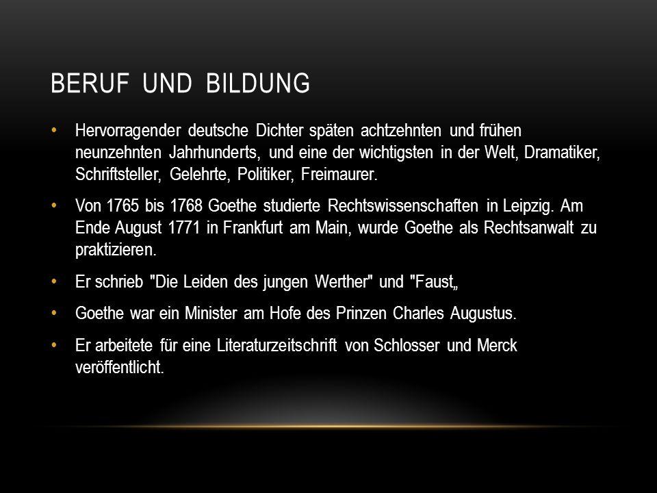 BERUF UND BILDUNG Hervorragender deutsche Dichter späten achtzehnten und frühen neunzehnten Jahrhunderts, und eine der wichtigsten in der Welt, Dramat