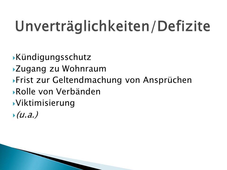 Kündigungsschutz Zugang zu Wohnraum Frist zur Geltendmachung von Ansprüchen Rolle von Verbänden Viktimisierung (u.a.) Unverträglichkeiten/Defizite