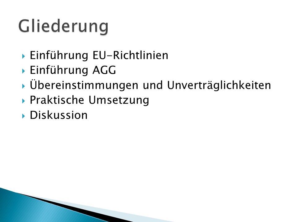 Einführung EU-Richtlinien Einführung AGG Übereinstimmungen und Unverträglichkeiten Praktische Umsetzung Diskussion