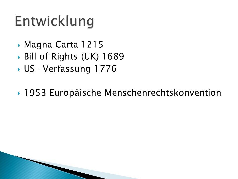 Magna Carta 1215 Bill of Rights (UK) 1689 US- Verfassung 1776 1953 Europäische Menschenrechtskonvention