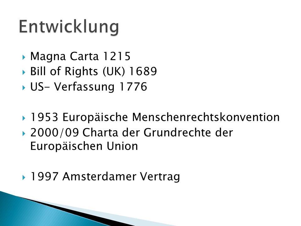 Magna Carta 1215 Bill of Rights (UK) 1689 US- Verfassung 1776 1953 Europäische Menschenrechtskonvention 2000/09 Charta der Grundrechte der Europäische