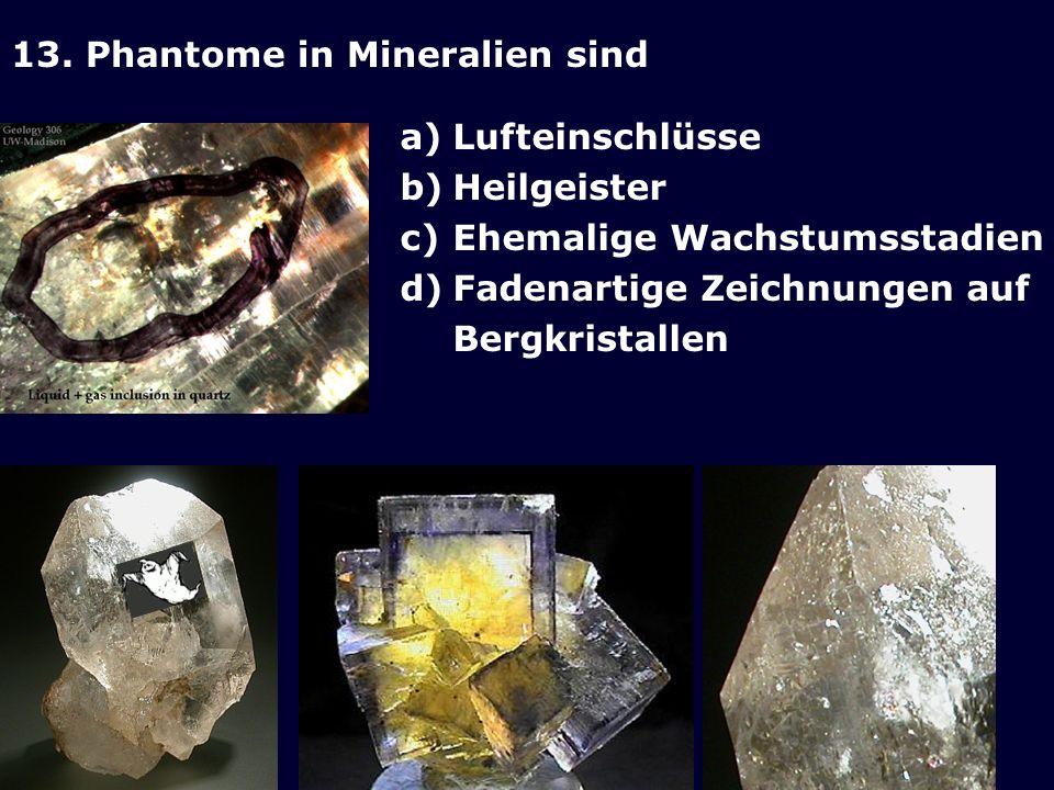 13. Phantome in Mineralien sind a)Lufteinschlüsse b)Heilgeister c)Ehemalige Wachstumsstadien d)Fadenartige Zeichnungen auf Bergkristallen
