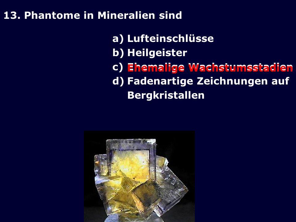 13. Phantome in Mineralien sind a)Lufteinschlüsse b)Heilgeister c)Ehemalige Wachstumsstadien d)Fadenartige Zeichnungen auf Bergkristallen Ehemalige Wa