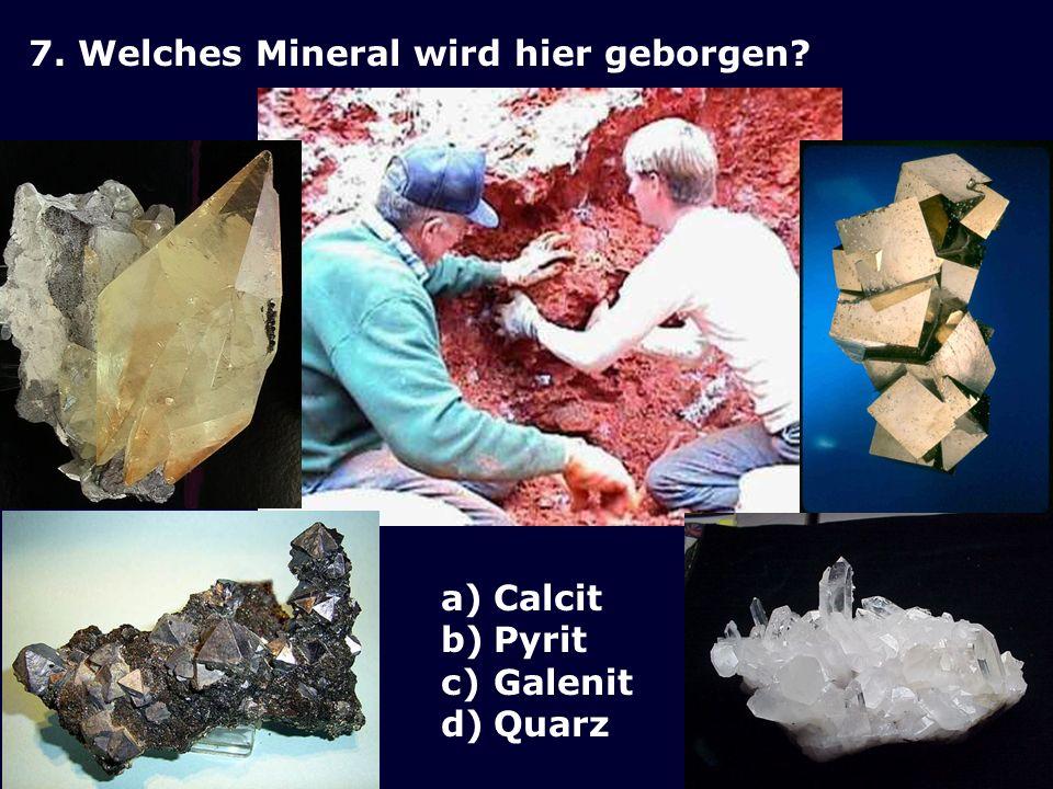 7. Welches Mineral wird hier geborgen? a)Calcit b)Pyrit c)Galenit d)Quarz