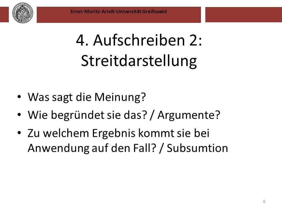 Ernst-Moritz-Arndt-Universität Greifswald 4. Aufschreiben 2: Streitdarstellung Was sagt die Meinung? Wie begründet sie das? / Argumente? Zu welchem Er