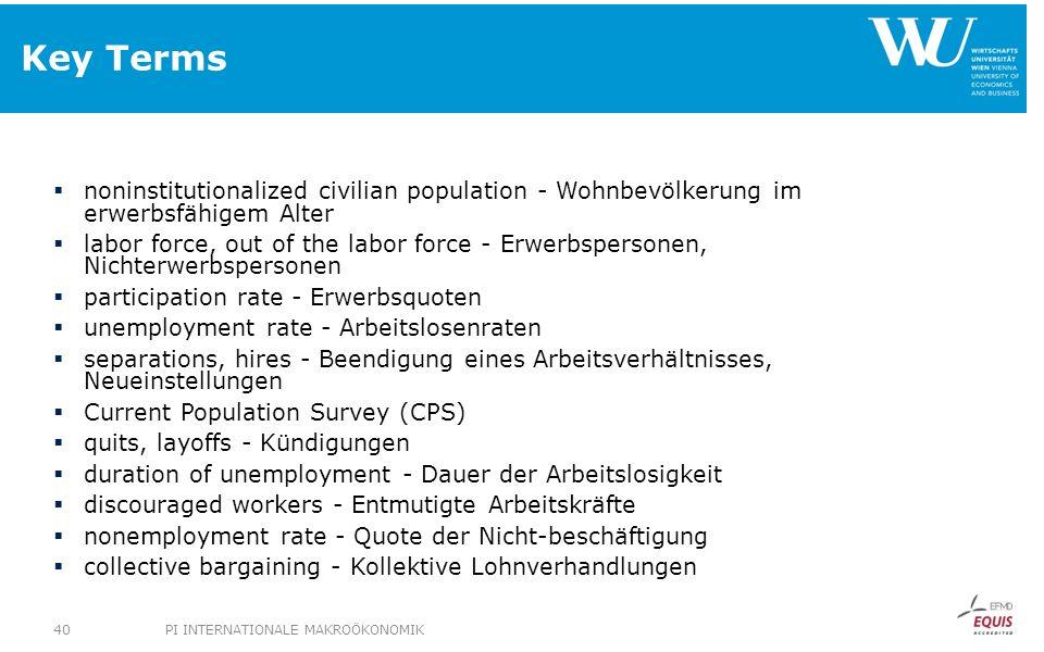 Key Terms noninstitutionalized civilian population - Wohnbevölkerung im erwerbsfähigem Alter labor force, out of the labor force - Erwerbspersonen, Ni