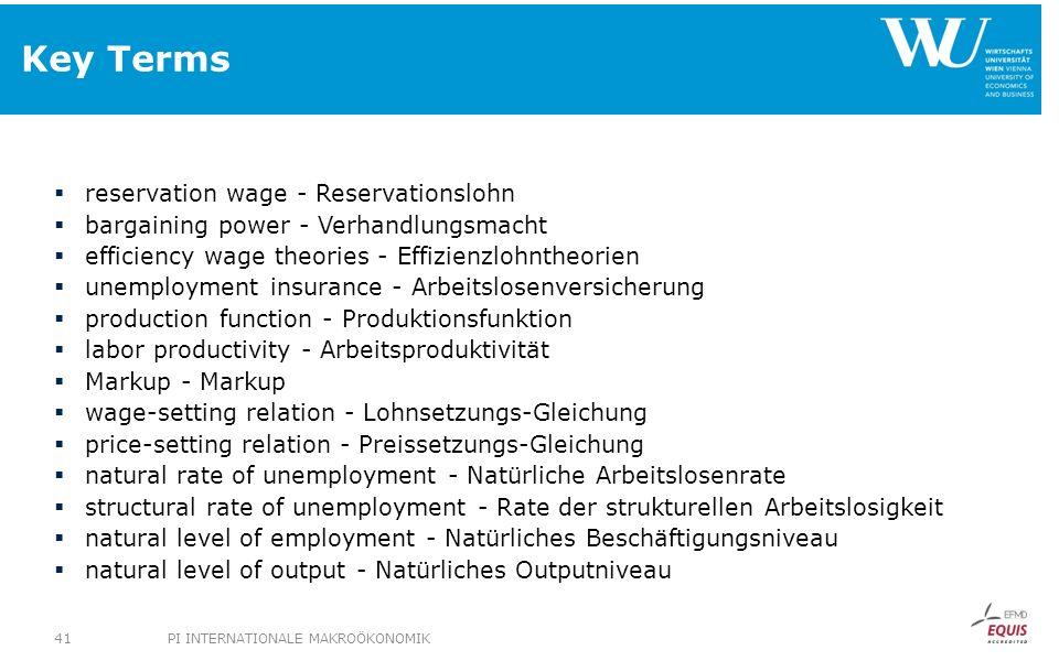 Key Terms reservation wage - Reservationslohn bargaining power - Verhandlungsmacht efficiency wage theories - Effizienzlohntheorien unemployment insur
