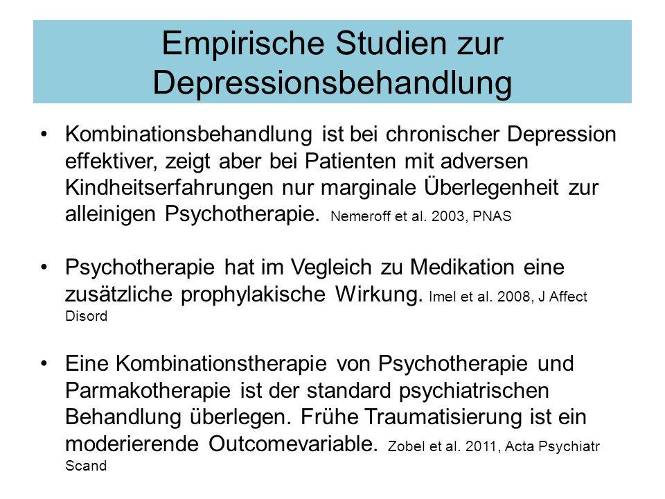 Empirische Studien zur Depressionsbehandlung Kombinationsbehandlung ist bei chronischer Depression effektiver, zeigt aber bei Patienten mit adversen Kindheitserfahrungen nur marginale Überlegenheit zur alleinigen Psychotherapie.