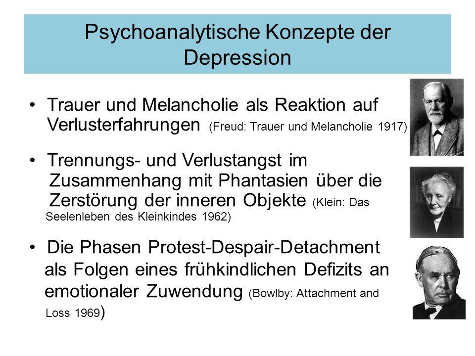 Freud: Trauer und Melancholie Trauer und Melancholie sind die Reaktionen eines Individuums auf einen realen Verlust, auf eine Kränkung oder Enttäuschung von Seiten einer geliebten Person oder auf den Verlust eines Ideals.
