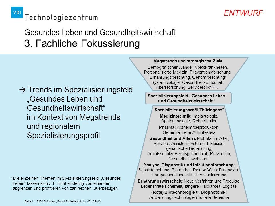 Seite 11 / RIS3 Thüringen Round Table-Gespräch/ 03.12.2013 ENTWURF Gesundes Leben und Gesundheitswirtschaft 3. Fachliche Fokussierung Megatrends und s
