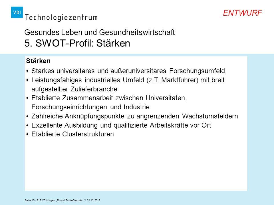 Seite 15 / RIS3 Thüringen Round Table-Gespräch/ 03.12.2013 ENTWURF Gesundes Leben und Gesundheitswirtschaft 5. SWOT-Profil: Stärken Stärken Starkes un